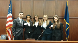 (L-R): Stetson Law students Ryan Hedstrom, Sunai Edwards, Lauren Fernandez, Lauren Eliopoulos, and Nicole Santamaria.