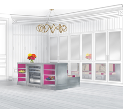 """Regina Sturrock's winning design submission for #PerlickDesignChallenge """"Chilling Below"""" features Perlick undercounter refrigeration specified in a vibrant and functional mudroom."""