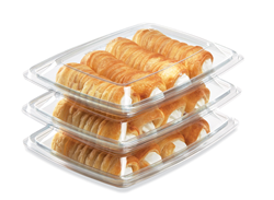 Plastic food packaging, clear plastic food containers, plastic trays, recycled plastic packaging