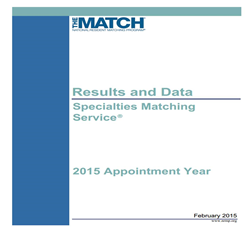 NRMP Results and Data Specialties Matching Service, 2015 Appointment Year