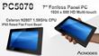 Acnodes Introduces New Multi-Touch Panel PC Features Celeron N2807...