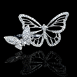 Diamond Antique Style 18k White Gold Butterfly Ring