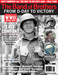 """A young Lieutenant Richard D. """"Dick"""" Winters, seen in 1943, smiles on the cover of THE BAND OF BROTHERS FROM D-DAY TO VICTORY."""