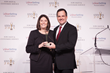 Debby Rizzo, CEO of Revenue Storm, accepts the Gold Stevie at the awards gala on February 27th in Las Vegas.