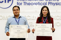 Rajan Jha, at left, and Rim Cherif are recipients of the ICO 2015 Gallieno Denardo Prize. The announcement was made at the ICTP Winter College last month.
