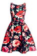 Beauteous Dress, Red Rose Dress,  Print Dress, Swing Dress