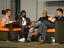 From left to right: Mike Coffey (DeveloperTown), Manpreet Singh (TalkLocal), Jonathon Perrelli (Fortify.vc), Frank Gruber (Tech Cocktail) at a past event, courtesy of TechZulu