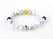 Its an island, a country or a continent, we all have that happy place ( silver bead ), with the sun above us ( yellow bead ), the sea from east and west ( blue beads ), and great friends all around us ( white/gray beads ).