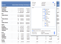 Comview's configurable mobile management reports show spend in native and base currencies