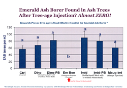 Graph from research by Deb McCoullough, PhD, Michigan State University, demonstrating the efficacy of Tree-age injections to control Emerald Ash Borer. McCullough, et al. 2011. Journal of Economic Entomology 104:1599-1612.