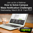 Regroup to Host Webinar on Solving Campus Mass Notification Challenges