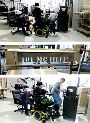 101 Mobility Product and Technical Support Representatives Mitch Gower and Ryan Price outfitting Amy Neubauer's Power Chair
