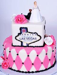 bride on budget cake in las vegas
