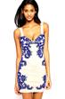 Vintage Dress, Black&White Blue Dress, Floral Dress, Print Dress, Mini Dress