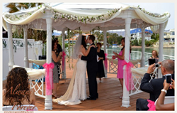 outdoor wedding in Las Vegas Gazbo lake weddings