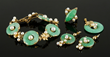 14K yellow gold, jade and pearl five-piece suite, to include: bracelet, pendant, ring, and earrings, bracelet,approximately 43 grams TW. Provenance: From a Massachusetts estate.