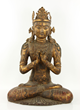 "Chinese Ming Dynasty seated figure of Buddha, gilt bronze, 32"" h x 21 1/2"" w x 16"" d"
