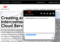 TouchCommerce TouchChat engagement window on Equinix UK website