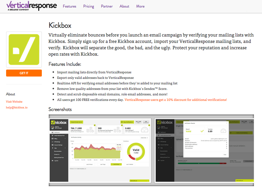 Kickbox delivers verticalresponse integrations marketplace for Vertical response