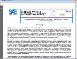 SAE International Creates Safety Guidelines for On-Road Testing of Prototype Models of Fully Automated Vehicles