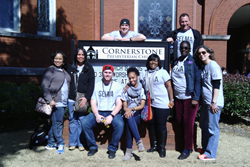 United Theological Seminary students and staff gather in front of Cornerstone Presbyterian Church in Selma, Ala.