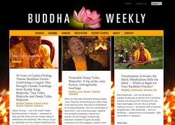 Photo of the Buddha Weekly Online Magazine home page, this week covering the 30th Anniversary of one of Canada's oldest Tibetan Buddhist Centres and profiling spiritual director Zasep Tulku Rinpoche.