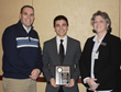 Daniel Camillone (center) of the College at Brockport was awarded the 2015 Ed Abramoski Scholarship.  Pictured with Brockport ATEP Director, Tim Henry (left) and NYSATA President, Aimee Brunelle.