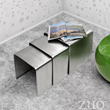 Aura Nesting Table 401108 in Brushed Stainless Steel from Zuo Modern