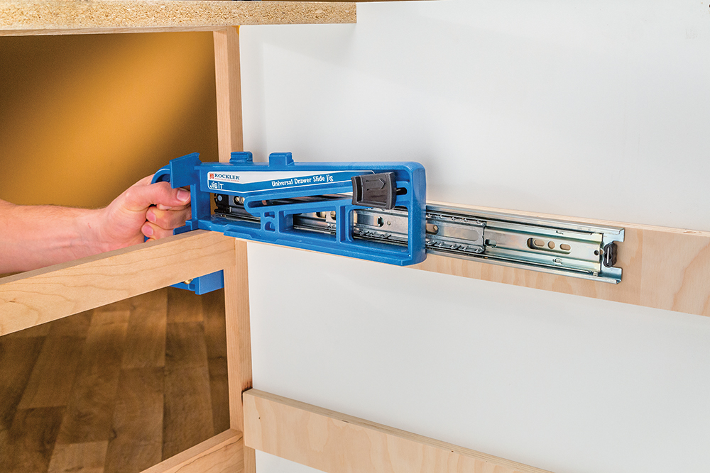 New Rockler Jig Simplifies Drawer Slide Installations