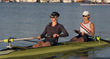 Sara Hendershot (left) and Erin Cafaro MacKenzie train on the water at Newport Sea Base, in Newport Beach, Calif.