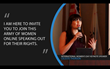"""""""I am here to invite you join this army of women online speaking out for their rights."""" - Celeste Thorson"""