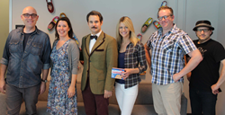 Paul F. Tompkins (center) with guests from Spontaneanation Episode 1