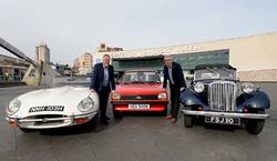 Gary Hall, Chief Executive of Culture Coventry and David Bond, Director of Footman James launch classic car world record