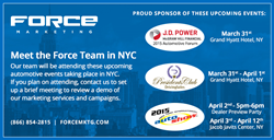 Force Marketing will be in attendance at three NYC automotive events.