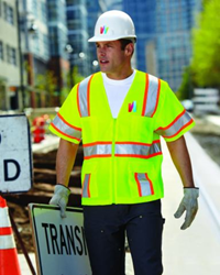 construction worker printed safety vest