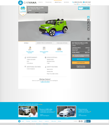 A sample vehicle description page from Carvana Kids that features a souped-up Kia Soul with ground effects and working audio system with microphone.