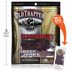 Size comparison between normal 10oz and new 480oz bags of Old Trapper Beef Jerky