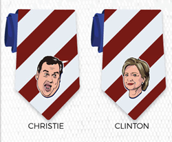 Online tie retailer creates a Presidential themed tie collection with printed faces of Hillary Clinton, Chris Christie, and 10 other likely candidates.