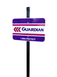 Guardian's yard sign reflects the new logo.