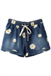 Daisy Print Shorts, Drawstring Shorts, Denim Shorts