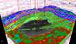 The image shows a 3D View of a RokDoc® Ji-Fi™ oil facies geobody with well intersections, a VpVs data volume and conventional seismic amplitude sections