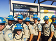 Members of the California Conservation Corps—all military veterans—stand in front of a new Black Mountain Wilderness sign. Photo courtesy of Conservation Lands