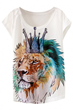 Crowned Lion-Print Tee, Lightweight Cap Tee, Sleeves Tee
