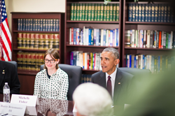 SLCC energy management student and Air Force veteran Michelle Fisher meets with President Barack Obama during his first visit to Utah. (Photo: Dave Newkirk)