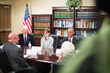 SLCC energy management student and Air Force veteran Michelle Fisher, seated next to Utah Sen. Orrin Hatch, meets with President Barack Obama during his first visit to Utah. (Photo: Dave Newkirk)