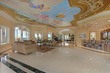 Caption: Interior view of living room and ceiling fresco, Il Santuario, Sailfish Point, Fla