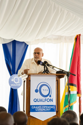 Guyana President Donald Ramotar addresses the audience at Qualfon's grand opening ceremony
