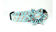 Organic Squirrels in Blue Dog Collar and Removable Collar Flower Set