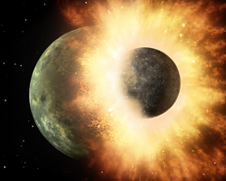 This artist's rendering shows the collision of two planetary bodies. A collision like this is believed to have created the moon shortly after our solar system formed. Image: NASA/JPL-Caltech