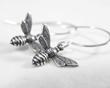 Simple Sterling Silver Bee Earrings from Luna Jewelry.